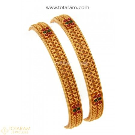 22K Gold Bangles - Set of 2 (1 Pair) (Temple Jewellery) - 235-GBL1224 - Buy this Latest Indian Gold Jewelry Design in 31.700 Grams for a low price of  $1,748.80