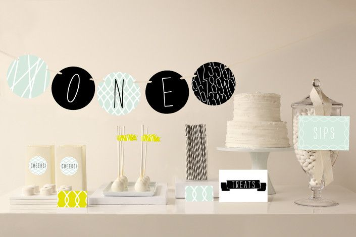 I like how fresh this palette is, and a departure from the typical Bon Voyage color scheme. Modern Mint Party Decor