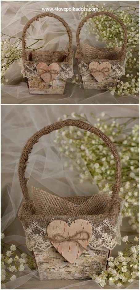 Rustic country burlap flower girl baskets
