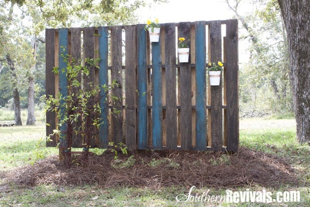 Southern Revivals: Pallet Garden Wall - Phase II ~ Decorating -- Hides septic tank