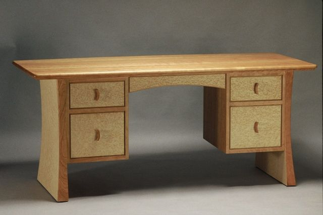 Dora pedestal desk in cherry and birdseye maple