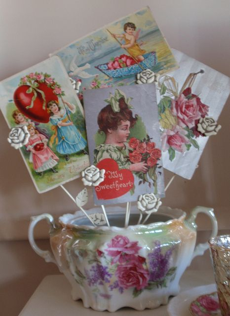 Vintage Valentine postcards display , cute way to display cards or pictures