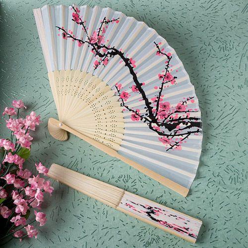 50 Delicate Cherry Blossom Design Silk Folding Fan Fan Wedding Favors