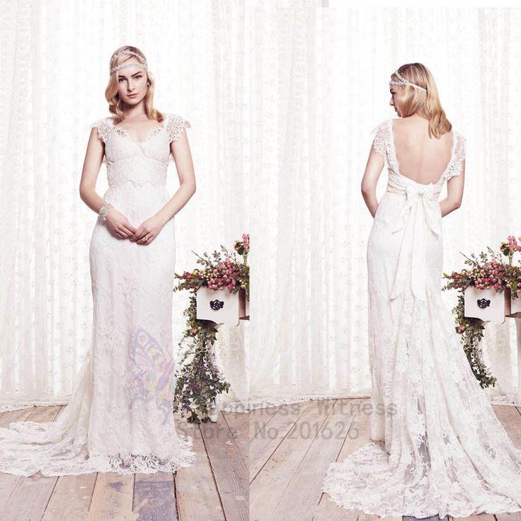 Бохо свадебные платья v-образным вырезом кружева Cap рукавом с романтической с бантом пояса рукавов анна кэмпбелл сексуальная спинки свадебное платье 2014