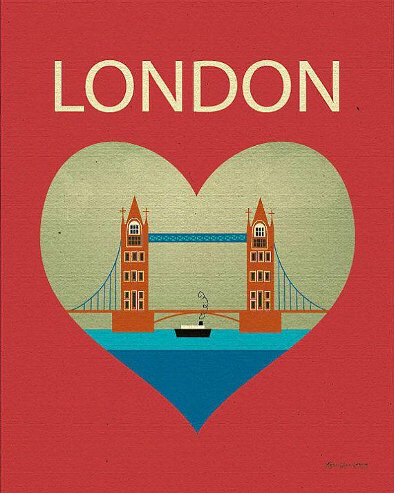 London Bridge and Heart  Travel Poster Print Art  by loosepetals, $26.00