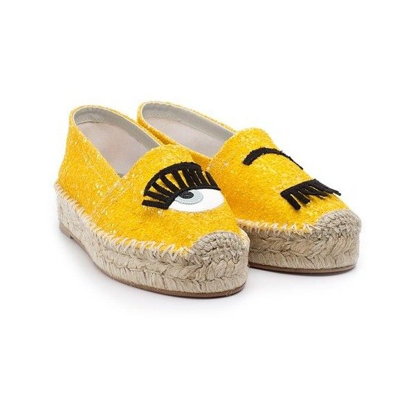 CHIARA FERRAGNI  Flirting glitter espadrilles (4,175 MXN) ❤ liked on Polyvore featuring shoes, sandals, yellow, patent shoes, patent leather shoes, yellow shoes, espadrille sandals and rubber sole shoes