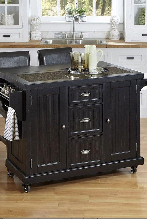 Black nantucket kitchen cart amp stool set interior inspiration kitch