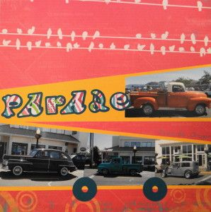 Antique Car Parade scrapbook page with the Font for the title from Cricut's Out of Character