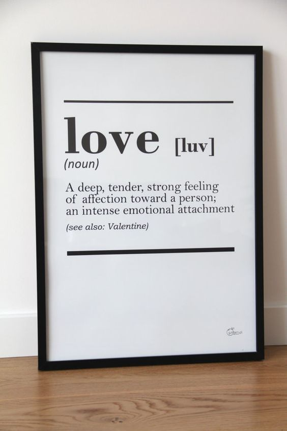 printable DICTIONARY LOVE interior poster - minimal scandinavian design, 50x70 cm /20x28 inches: