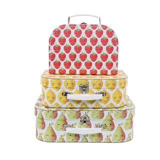 Pappkoffer Set  HAPPY FRUIT, 3-tlg Kinderkoffer