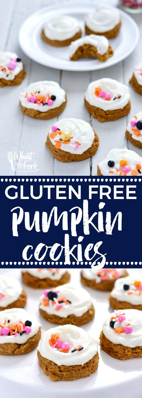Gluten Free Pumpkin Cookies with Cream Cheese Frosting (dairy free option) are pillowy soft and melt in your mouth. Easy gluten free cookie recipe from @whattheforkblog | whattheforkfoodblog.com | gluten free dairy free pumpkin cookies | soft frosted pump