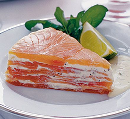 Layer fish with lemon cream cheese and a gravadlax dressing of brandy, dill and mustard for a sensational centrepiece
