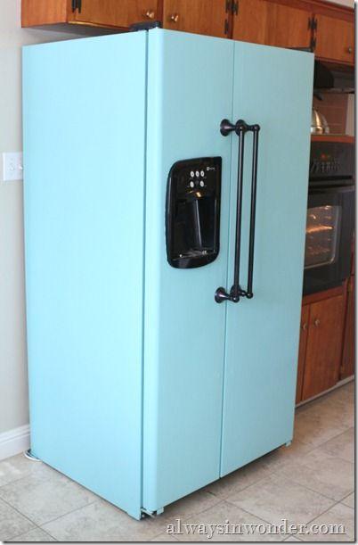 refrigerator paint. paint your fridge, add new handles! refrigerator