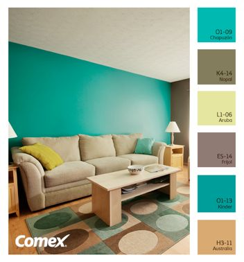 M s de 25 ideas incre bles sobre paredes color aqua solo - Paleta colores pintura pared ...