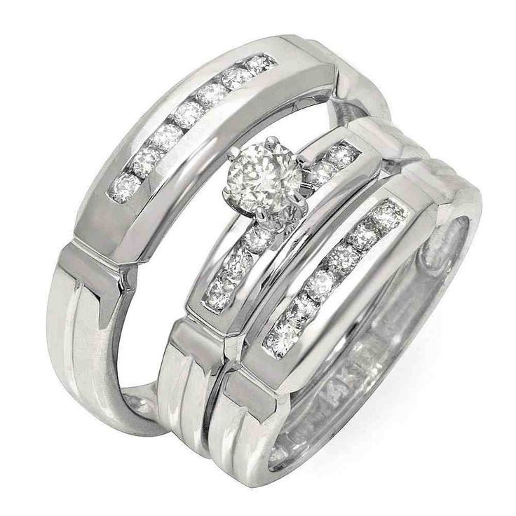affordable half carat trio wedding ring set for him and her - Inexpensive Wedding Ring Sets