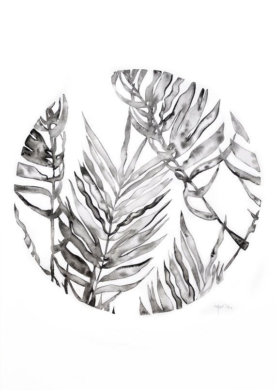 Original watercolour leaf art - circle of leaves by ThePennyDrops