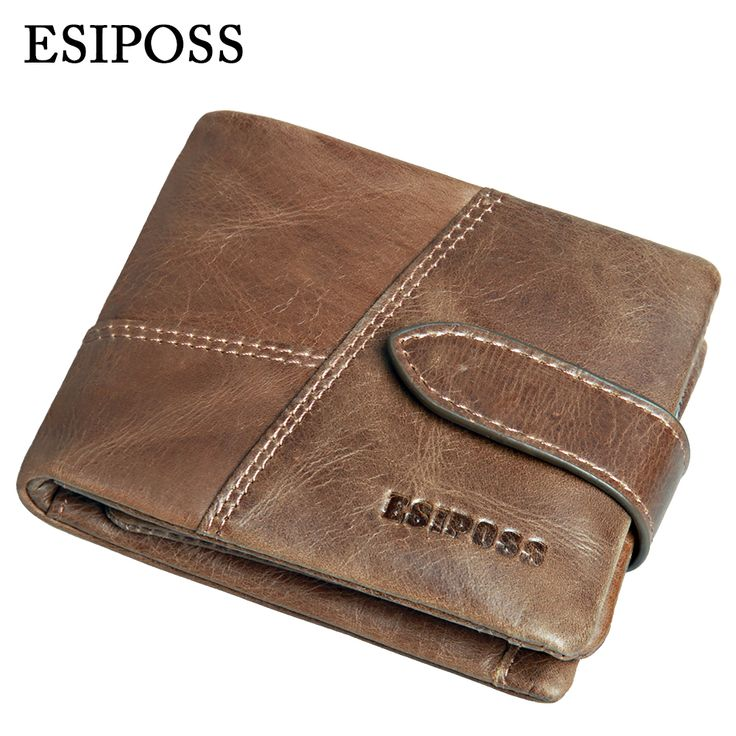 2016 New Famous Brand Men Wallets Luxury Genuine Cow Leather Design Male Purse with Coin Pocket Hasp Zipper Short Vintage Wallet