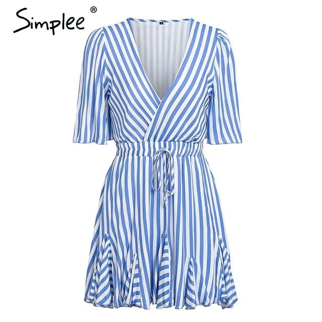 Vintage striped women dress v neck ruffle cotton short summer dress plus size casual lady vestido festa