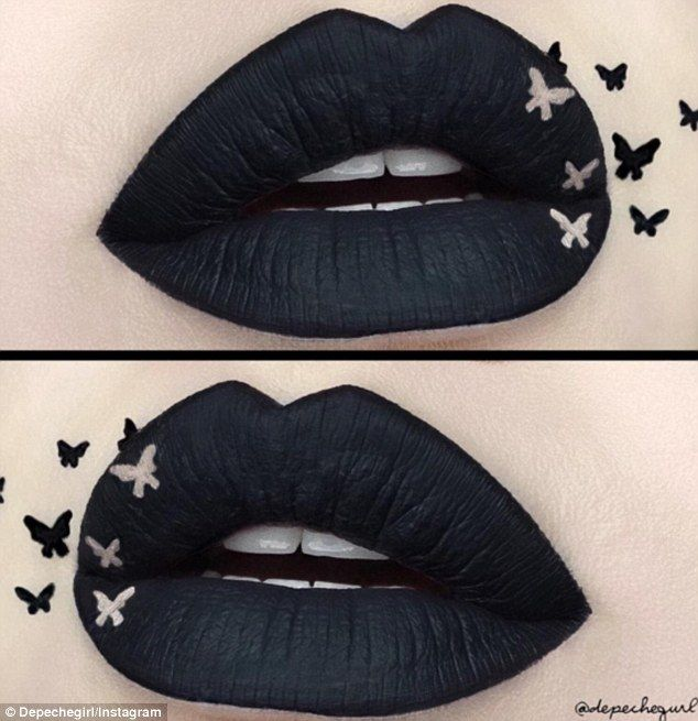 Black butterflies: Many chose to create a silhouette look with matte black lips                                                                                                                                                                                 More