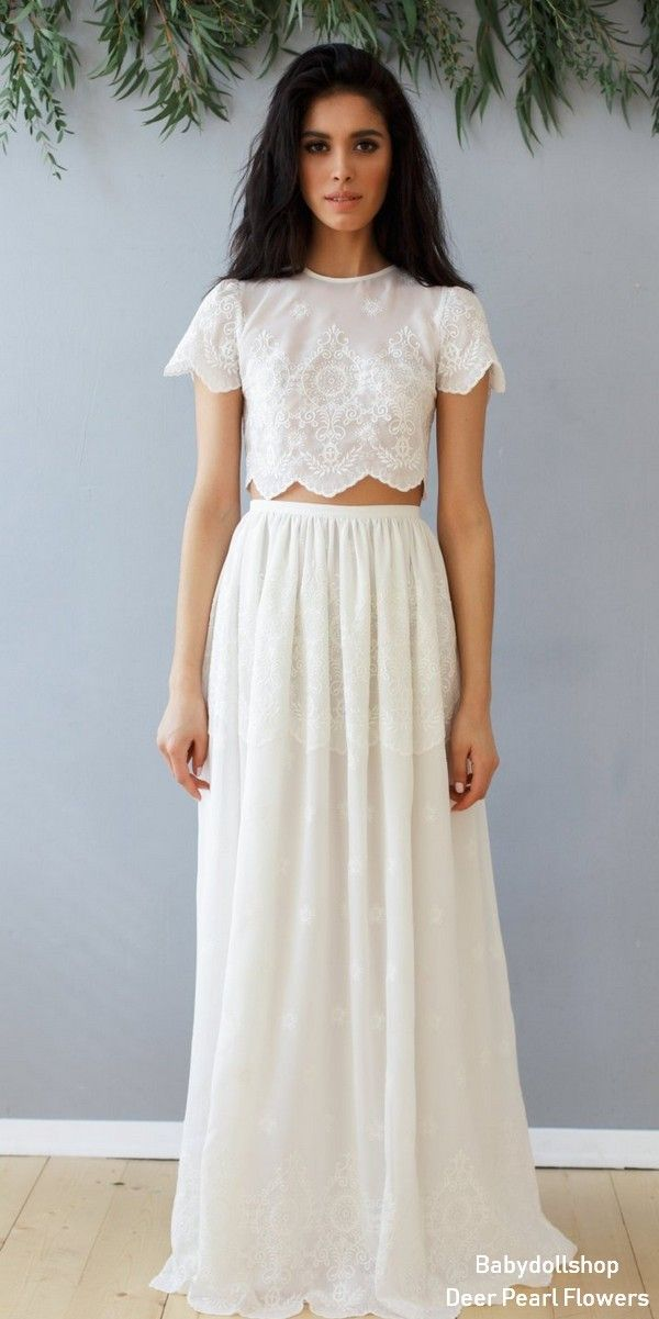 715a7b4162c Wedding set of lace crop top and long skirt, boho wedding style. A set of  long skirt and cropped top in warm white color. Lace loose top with short  sleeves, ...