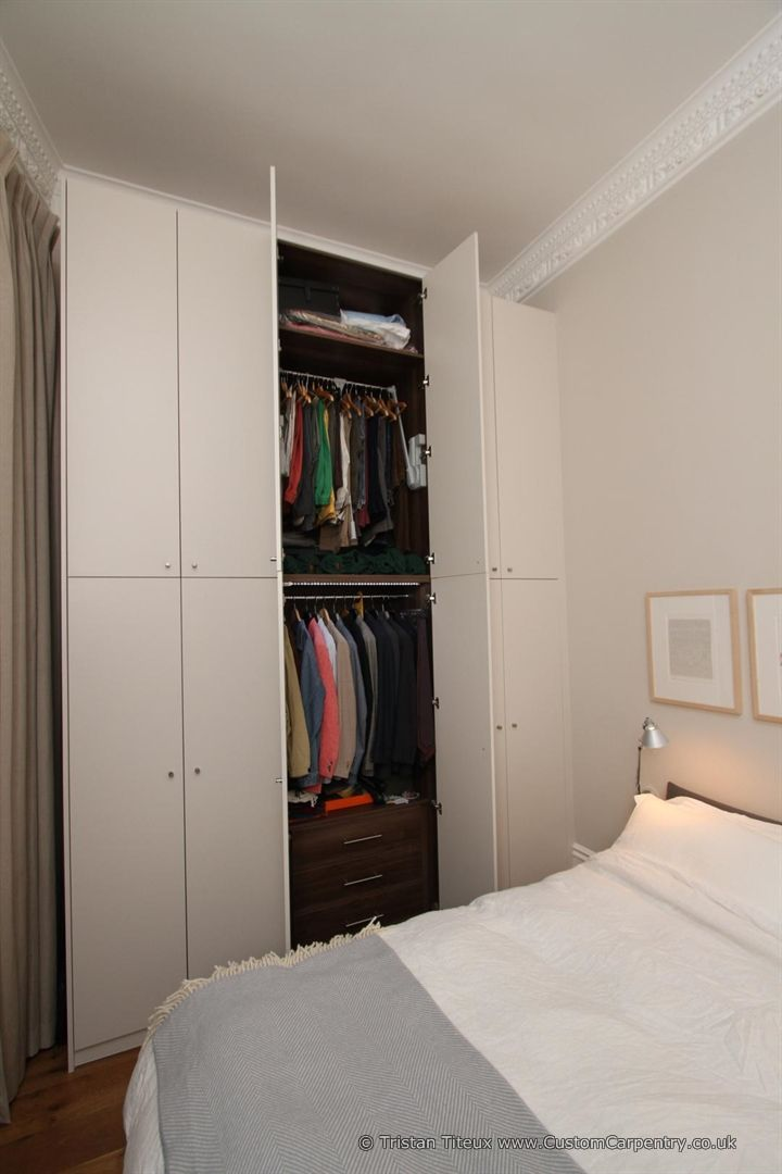 Beautiful contemporary fitted wardrobe made from scratch using wood from sustainably managed forests in the UK by www.CustomCarpentry.co.uk soon to be www.Empatika.co.uk
