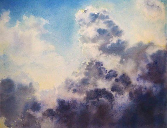 Dramatic Sky Watercolour Painting Landscape Painting Clouds