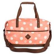 Women's Distressed Polka Dot Print Weekender Handbag - Coral