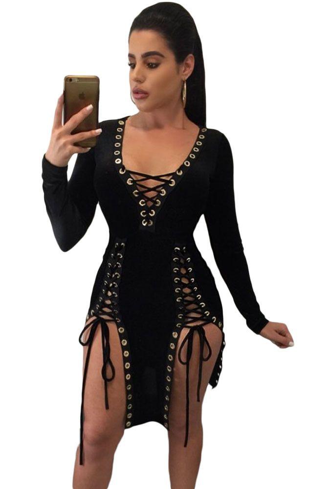 Black Lace Up Grommet Double Slits Long Sleeve Club Dress