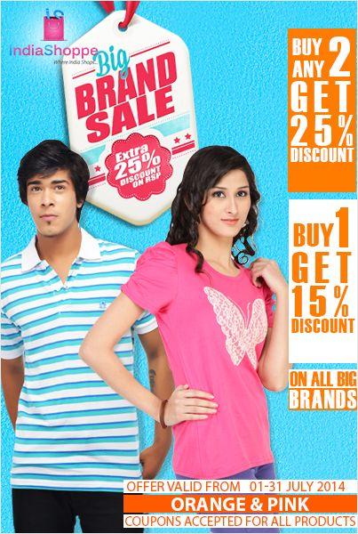 Big Brand SALE for Women's & Men's Apparels. Visit www.indiashoppe.com