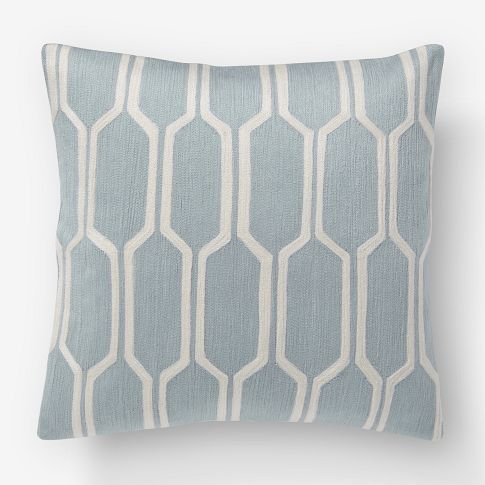 got one of these covers recently...the pattern and color are great but what really does it for me is the texture: Pillows Covers, Living Rooms, Dusty Blue, Blue Pillows, Honeycombs Crewel, Cushions Covers, Throw Pillows, West Elm, Crewel Pillows