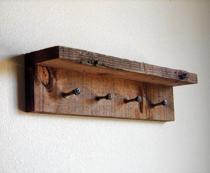 Rustic key rack, key hooks, reclaimed wall hooks, barnwood hooks. $24.00, via Etsy.