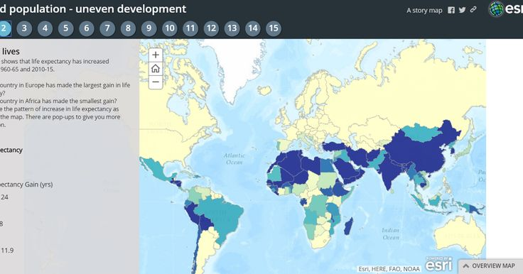 World Population Trends is an interactive story map series produced on the ESRI platform. Fifteen maps in the series show patterns of change in the world's population from 1960 through 2015. The maps in the series represent population changes due to birth and death rate changes life expectancy changes fertility rate changes and changes in migration. Applications for EducationWorld Population Trends includes guiding questions on many of the maps in the series. The questions ask students to…