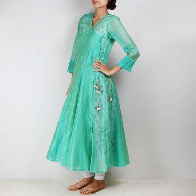 Green Silk Angarkha with floral motif Inner