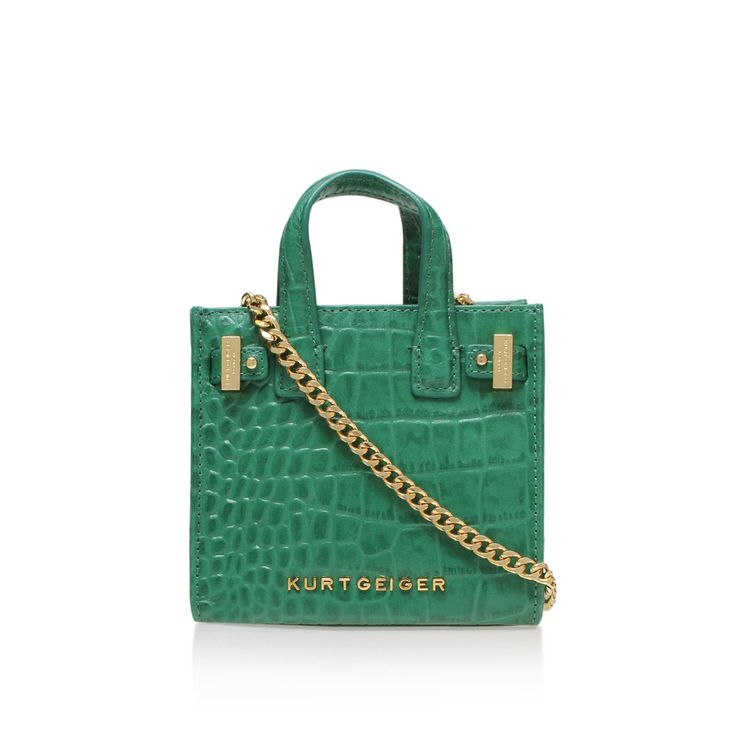 croc micro london tote green micro tote bag from Kurt Geiger London