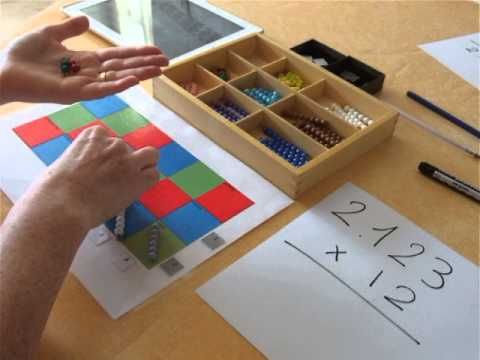 Multiplication with 2 digit- In spanish, but still easier to understand than the Aust. curriculum! Multiplicar con el tablero de Montessori. - YouTube