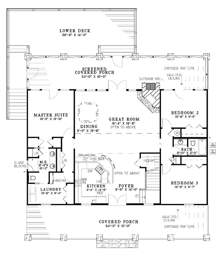 beautiful rustic country home w/ super open layout (hq plans