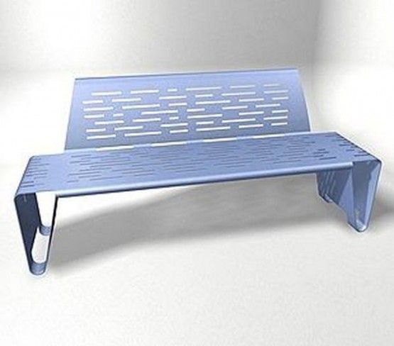 elegant and stylist blue double steel bench with backrest concept