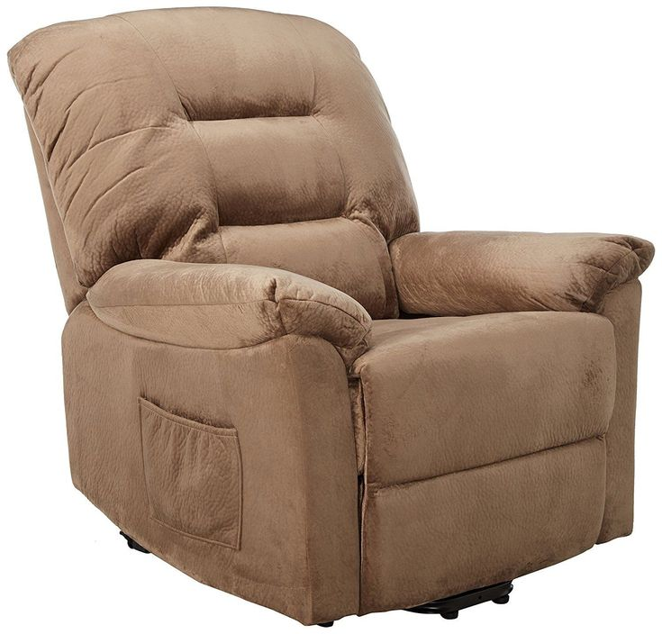 Modern Transitional Power Lift Wall Hugger Recliner Chair Remote Control Brown