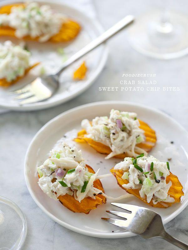 Crab Salad Sweet Potato Chip Bites from FoodieCrush.com