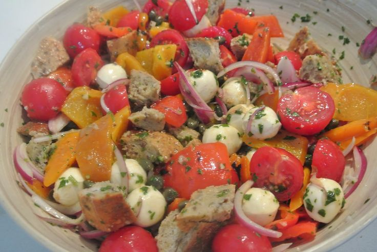 Tuscan Bread Salad with the BEST Basil Vinaigrette Ever (Whitewater Cooks)