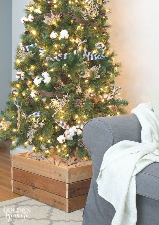 Easy DIY Christmas tree stand box is a great alternative to a tree skirt | The Golden Sycamore