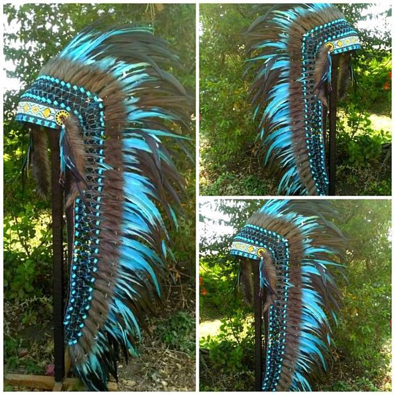 Blue Native American inspired Costume Indian style Headdress