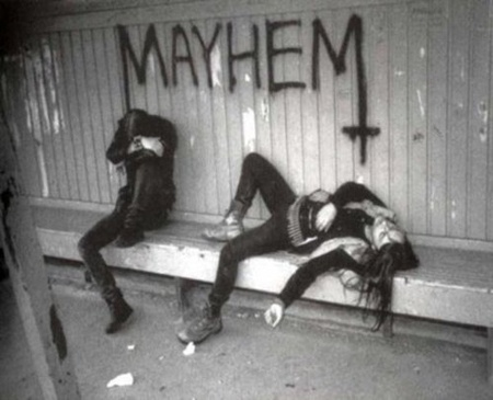 True Norwegian Black Metal -- this makes me smile because between being depressed and exhausted there is virtually NO CHANCE of these two creating mayhem!