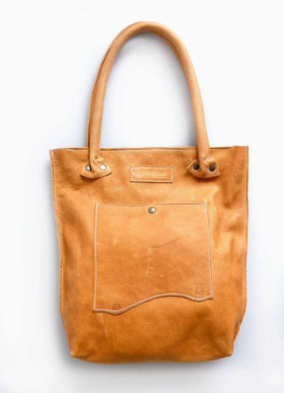 Soft Camel Tone Leather Tote Bag Natural Leather by LABOURofART