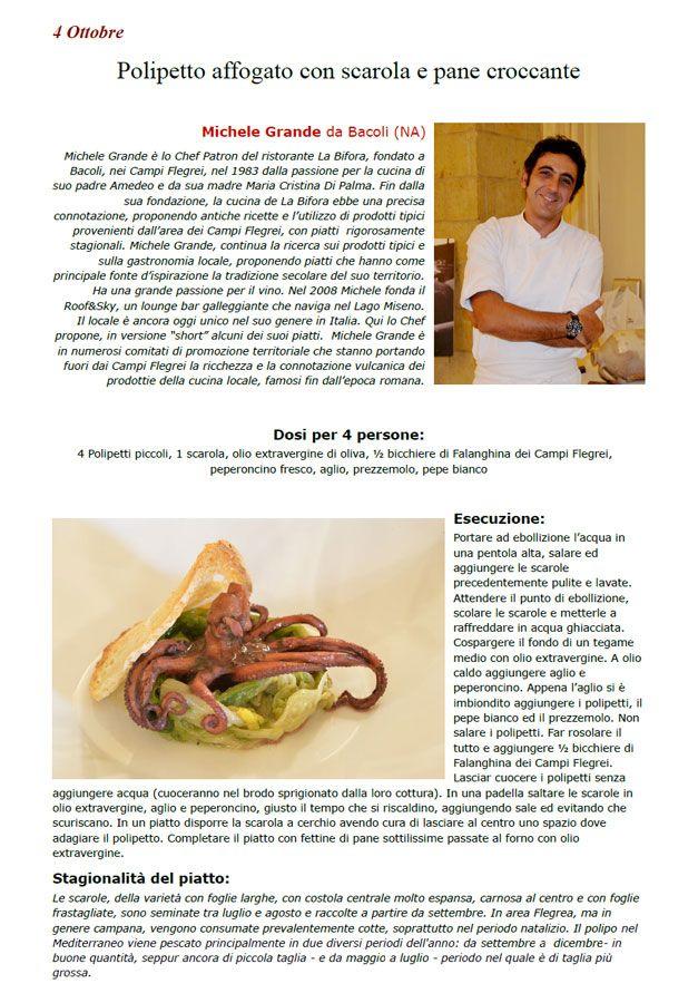 """La Ricetta di oggi 4 Ottobre dall'archivio di Ricette 3.0 di spaghettitaliani.com - Polipetto affogato con scarola e pane croccante ( Secondi - Crostacei, molluschi ) inserita da Michele Grande - La ricetta si trova anche nel Libro """"Una Ricetta al Giorno... ...leva il medico di torno"""" prodotto dall'Associazione Spaghettitaliani, per acquistarlo: http://www.spaghettitaliani.com/Ricette2013/PrenotaLibro.php"""
