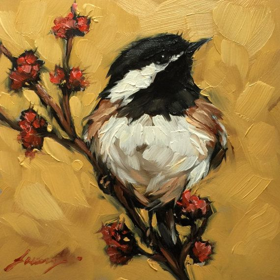 "Chickadee painting, Original impressionistic oil painting of a Chickadee, 4x4""…"