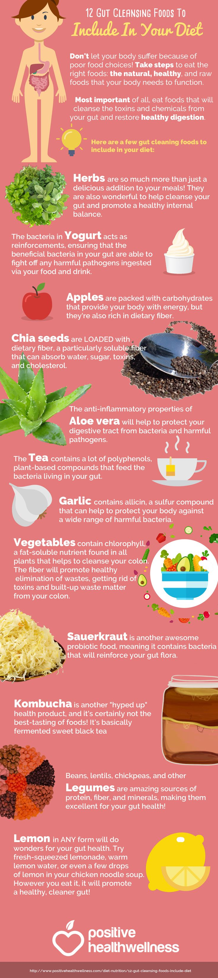 Don't let your body suffer because of poor food choices! Take steps to eat the right foods: the natural, healthy, and raw foods that your body needs to function. Most important of all, eat foods that will cleanse the toxins and chemicals from your gut and restore healthy digestion | 12 Gut Cleansing Foods To Include In Your Diet