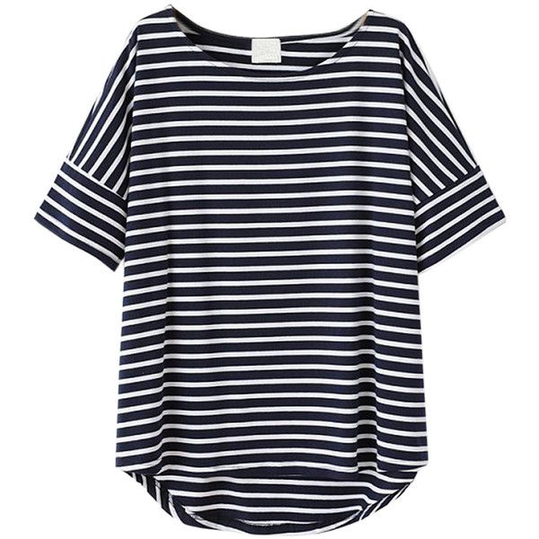 Choies Black Stripes Short Sleeve T-shirt ($9.90) ❤ liked on Polyvore featuring tops, t-shirts, shirts, tees, blusas, multi, stripe tee, tee-shirt, striped tee and stripe shirt
