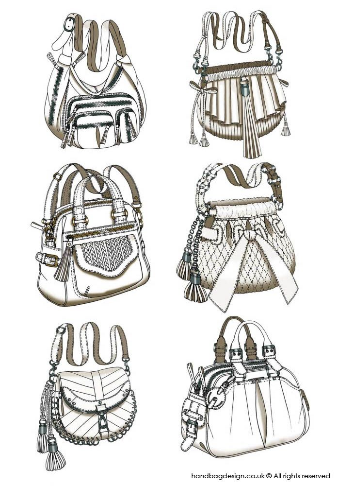 Handbag / Purse design - Sketch Drawing / Hand rendering by Emily O'Rourke at Coroflot.com