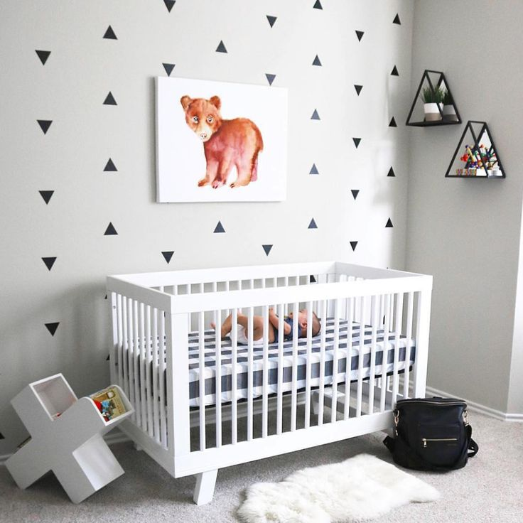 Nursery Goals   Add dimension to a white room with geometric accents  [Featuring Babyletto Hudson Cot in White] _   @melissajack_ | @babyletto